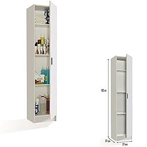 Mueble Armario Multiusos 1 Puerta, Color Blanco, Medidas: 182 cm
