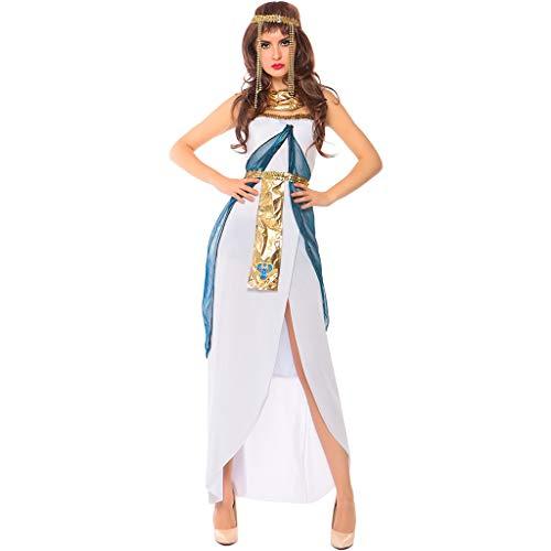 QWEASZER Damen Sexy Griechische Göttin Kostüm Halloween Cosplay COS Königin Von Ägypten Bar Nachtclubs Club Party Dance Arabische Mädchen Bühnenkostüme,White-M (Griechische Göttin Kostüm Mann)