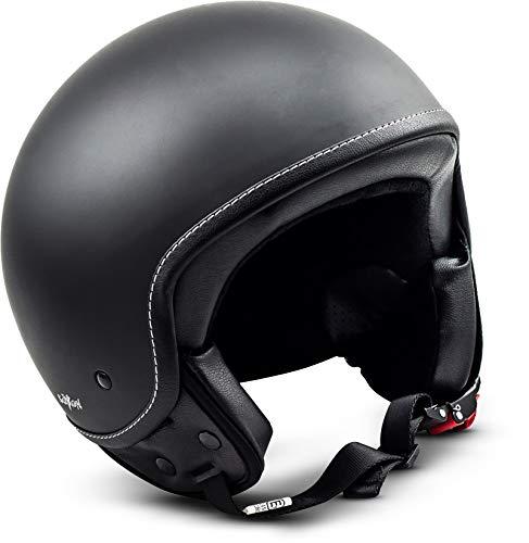 SOXON SP-301 Night Motorrad-Helm Roller-Helm Jet-Helm Bobber Scooter-Helm Pilot Cruiser Vintage Mofa Chopper Helmet Biker Vespa-Helm Retro, ECE zertifiziert, inkl. Stofftragetasche, Schwarz (Night), M (57-58cm)