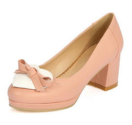 Misturada Salto Rosa Senhoras Sapatos Bombas Toe Em Voguezone009 Tração Rodada Médio Cor pfq50wx