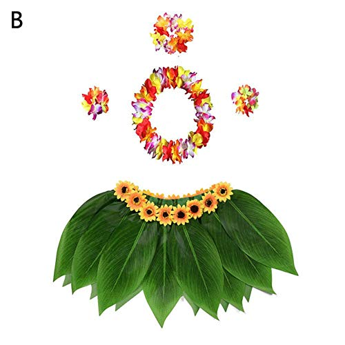 Jannyshop 5 Stücke Anzug Ti Blatt Hula Rock Hawaii Strand Thema Dekoration Party Supplies Hawaii Rock Outfit, Hawaii Kostüm für Fasching