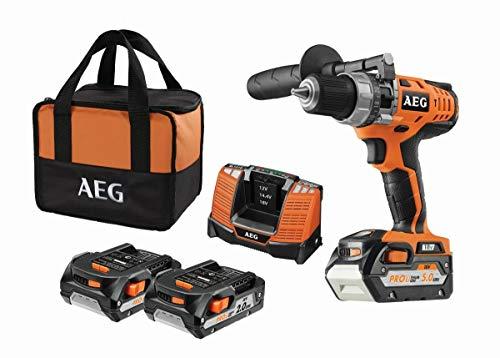 AEG - Taladro atornillador de impacto compacto con batería incluye 3 baterías y cargador, 60 Nm...