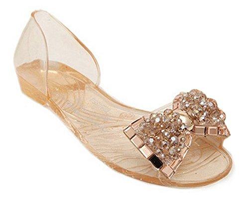 Minetom Dame Abend Beiläufige Flache Mode Bling Bowtie Gelee Slipper Sommer Sandalen Vorne offener Schuh Schuhe Champagner