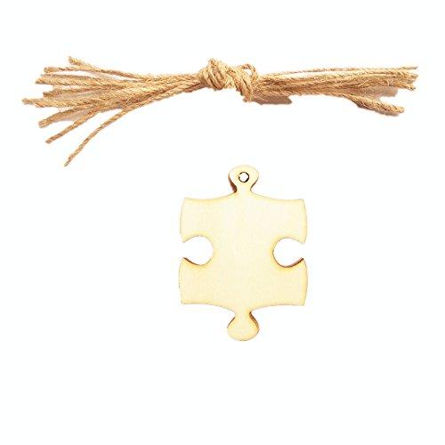 MagiDeal 20 Stück Deko Puzzle Geschenkanhänger Deko Hänger Mini Hölz Hängeetiketten (Kleidung Puzzle-stück)