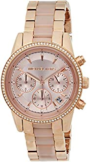 Michael Kors Ritz Women's Rose Gold Dial Stainless Steel Band Chronograph Watch - Mk6307, Analog Display,