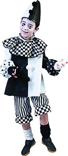 erdbeerclown - Harlekin Schwarz Weiß Clownskostüm mit Kragen für Kinder, 164-170, 14-15 Jahre, Mehrfarbig (Schwarzen Rock Anzug Kasper)