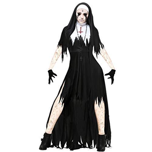 1-1 Halloween Adult Female Horror Sensenmann Zombie Hexe Vampir Dämon Schwarze Nonne Kleid Abendkleid (Dunkle Hexe Übergröße Kostüm)