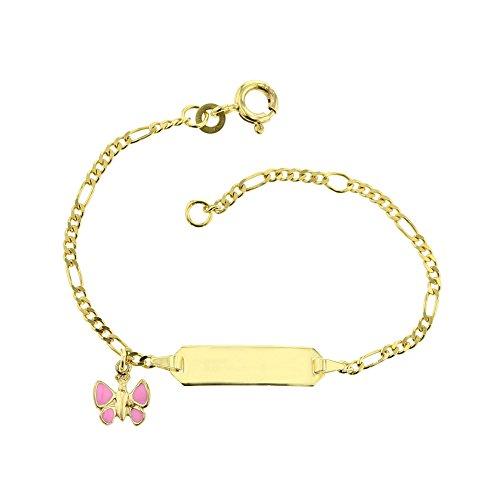 Baby Kinder ID-Armband 333 Gold 14 cm Schmuck Figaro Gelbgold Schmetterling in rosa *inkl. Gravur* Made in Germany 5.5305210 (Gold Schmetterling Armband)