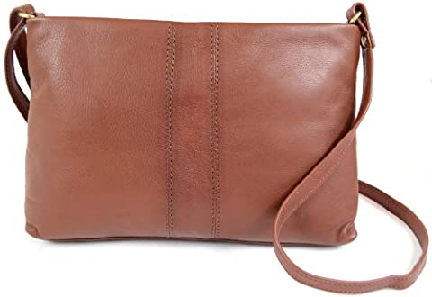 Ladies Soft Premium Leather Shoulder / Cross Body Bag ( Tan )