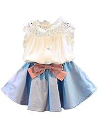 Conjuntos de ropa, Dragon868 2018 Más reciente niñas Baby chaleco sin mangas + bowknot falda corta conjunto