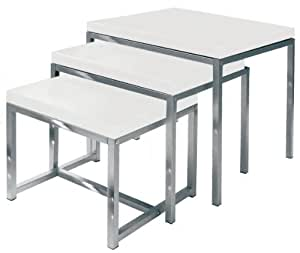 Premier Housewares Nested Tables with Chrome Legs - 50 x 50 x 46 cm, White High Gloss, Set of 3