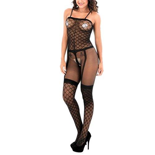 HXQ Damen Unterwäsche Hosenträger Bodystocking Im Schritt offen Mesh Babydoll Black