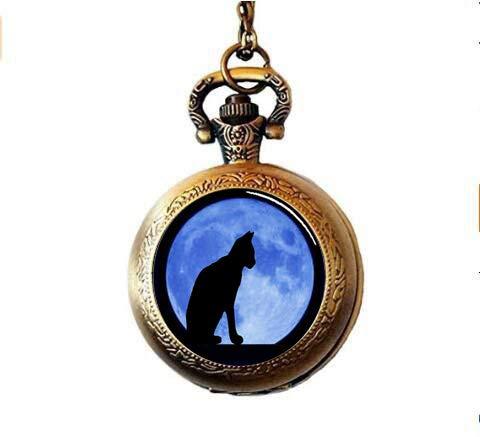 aaaAA Schwarze Katze mit Mond Hintergrund Anhänger Fototasche Uhr Halskette