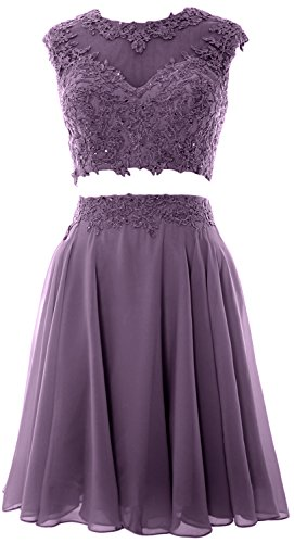 MACloth Women Vintage 2 Piece Prom Homecoming Dress Lace Wedding Party Gown Wisteria