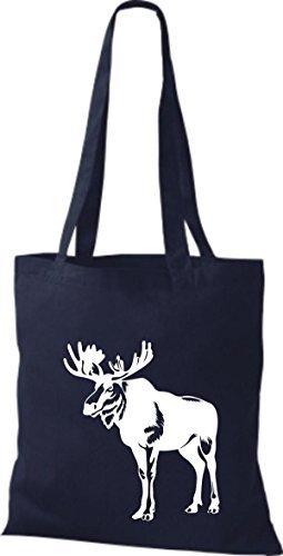 shirtstown Borsa di stoffa animale alce, elk, Karibus Blu marino