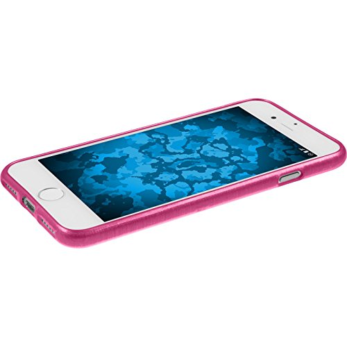 PhoneNatic Case für Apple iPhone 7 Hülle Silikon blau brushed Cover iPhone 7 Tasche + 2 Schutzfolien Pink