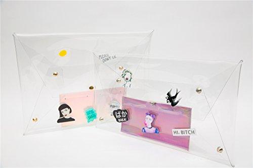 zarapack Frauen 'S CLEAR TRANSPARENT Handtasche Clutch Hologramm IT-Bag, Style 1 (Transparent) - BA928 Style 2 with Inner Bag