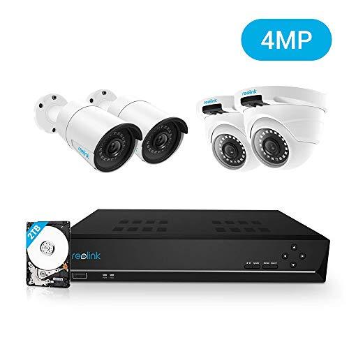 REOLINK 4MP Kit Videosorveglianza IP PoE, 8CH 4MP PoE NVR con 4x4MP HD PoE Videocamere di IP Esterno Impermeabile Bullet Cupola, HDD da 2TB Sistema di Sorveglianza, RLK8-410B2D2-4MP
