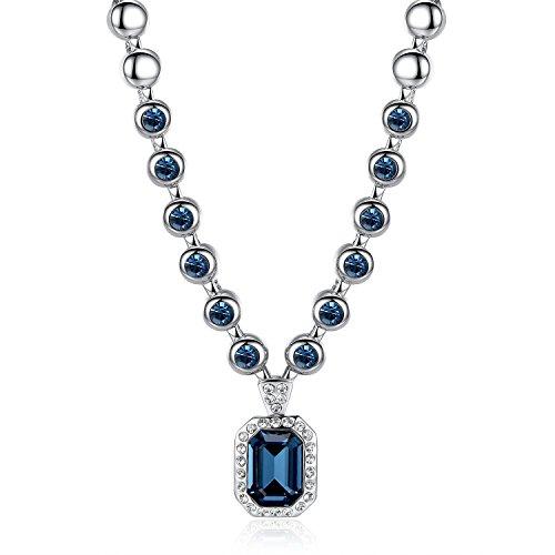 GoSparking Montana cristallo dell'oro bianco 18K della lega pendente della collana di cristallo austriaca per le donne