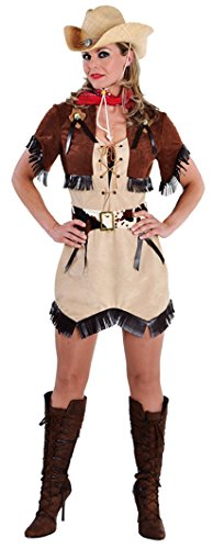 M212145-L brauntöne Damen Cowgirl Kleid Western Kostüm Gr.L (Wildleder-fransen-jacke Braune)