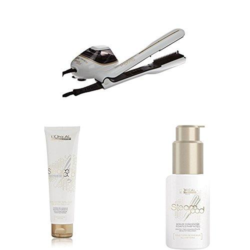 L'Oréal - Pack Steampod 2.0 - fer à lisser vapeur + Sérum 50ml + Crème de lissage cheveux épais 150ml