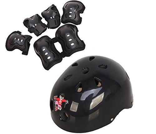 der Roller Skating Sicherung Sport Support Pads - Knieschoner Ellenbogen Pads Wrister Armschienen Sicherheitshelm Durable Schutz Gear für Eis Skate Skateboard Fahrrad BMX Bike (Medium 6-14 years old, Schwarz) ()