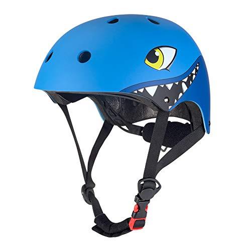 TANMIN Kinderhelm, Cartoon Shark Helm Zum Radfahren BMX Skating Scooter Skateboard Fahrrad Für Head Wai 51-54 cm Jungen/Mädchen,Blue