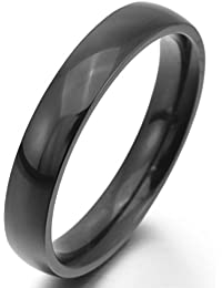 MunkiMix Wide 2mm~10mm Stainless Steel Rings Band Black Wedding Polished Men,Women