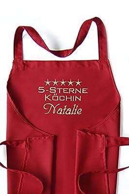 KringsFashion® + CG Workwear Latzschürze 5-Sterne-Köchin + Name oder Wunschbegriff, hochwertig bestickt, Farbe zur Auswahl, Schürze und Stickerei deutsche Produktion;