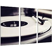 Cuadro Moderno Fotografico Tocadiscos Vintage, Discos de Vinilo, Musica, 97 x 62 cm, Ref. 26520