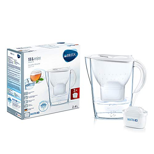 Brita kit marella con 3 filtri maxtra+ - caraffa filtrante per acqua, capacità 2.4 l, bianca, 3 filtri maxtra+ inclusi