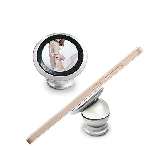 DIYthinker Japan und Südkorea weiße Tanga Spitze Aktrückseite Mädchen Gal Lady Magnetic-Telefon-Einfassung Auto-Armaturenbrett-Halter für Handy 360 Grad Drehung Geschenk Weiss