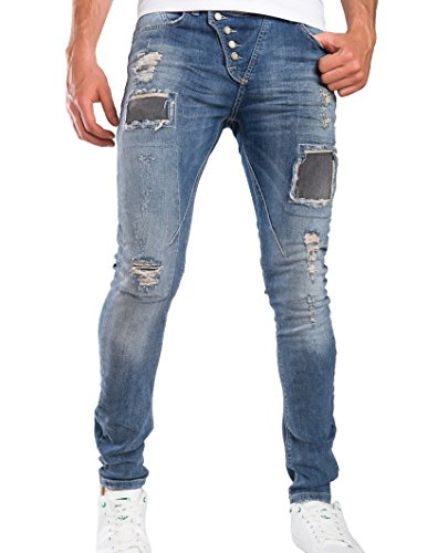 Red Bridge Hombre Vaqueros Pantalones Denim Destruida Parche Jeans