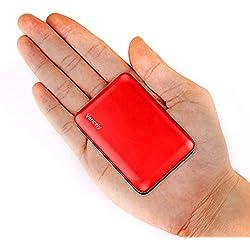 Vancely Batería Externa, Mini Power Bank 10000Mah Cargador Portátil con Gran Capacidad y Doble Salida USB (5V / 2.4A), para iPhone, iPad, Samsung Galaxy, Huawei Y Otros Smartphones y Tableta(Rojo)