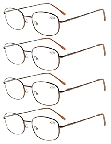 Eyekepper Metal Frame Spring Hinged Arms Reading Glasses Pack of 4 Pairs +2.75