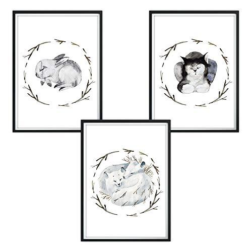 luvel - 3er-Set DINA4 Poster für Kinderzimmer und den Bilderrahmen, Kinderposter, Babyzimmer Bilder, Baby Bilder, Dekoration Kinderzimmer (P14)