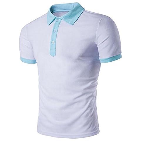 Men's Shirts, Manadlian 2017 New Men Summer Casual Zipper Tops Cotton Blouse Hooded Slim Fit Solid Short Sleeve T shirt (L, White)