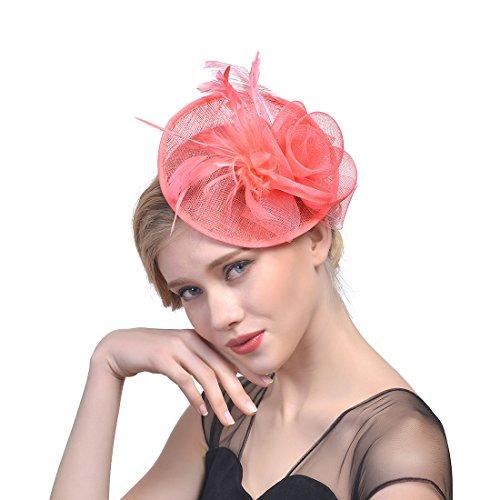 34864 Bowler Hat Bridal Mesh Garn Feder Kopfschmuck Royal Party Kostüm Kopfbedeckungen (Color : Watermelon red) (Red Bowler Hut Kostüm)