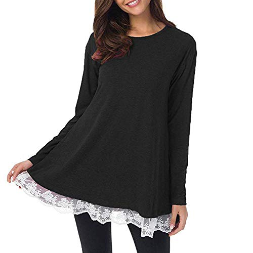 Clearence!!!Sonnena Women Casual Long Sleeve Ladies Plus Size Loose Solid Lace Tops O-Neck Tunic Blouse
