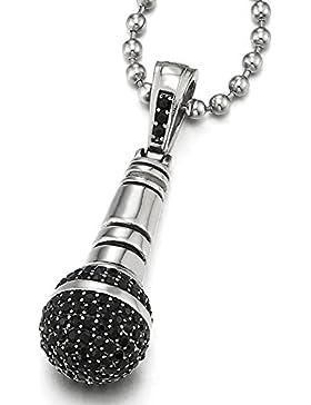 Edelstahl Mikrofon Anhänger Halskette mit Schwarzen Zirkonia für Herren mit 60CM Stahl Kugelkette