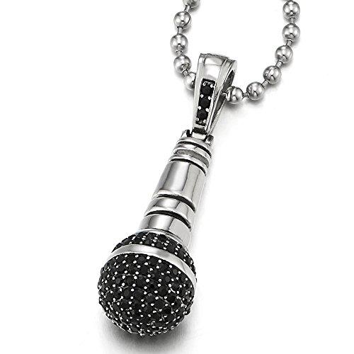 COOLSTEELANDBEYOND Edelstahl Mikrofon Anhänger Halskette mit Schwarzen Zirkonia für Herren mit 60CM Stahl Kugelkette