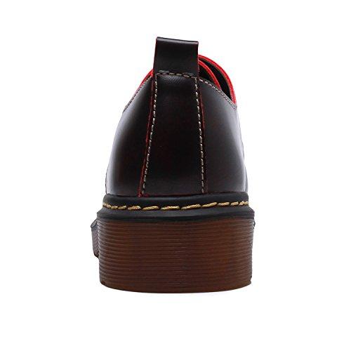 Smilun Chaussures Femme Derby Classic Lacets Autobloquants Basses Bout Rond Rouge