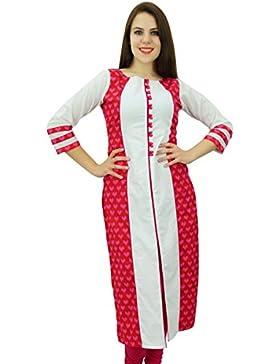 Phagun algodón Kurti étnico Corazón Imprimir diseñador de las mujeres del vestido ocasional de Kurta