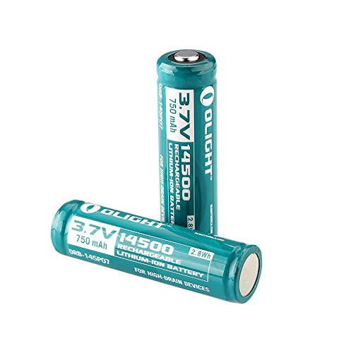 Olight® 14500 Akkus Li-Ion wiederaufladbare Batterien 3.7V 750mAh – 2er-Pack (original und geschützt)