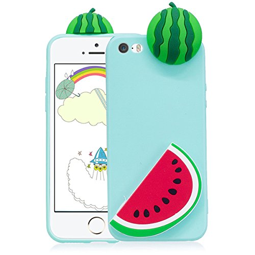 Cover iPhone 5s Custodia iphone 5 Silicone 3D Cartoon Leton Morbido TPU Gel Case per Apple iPhone 5s / 5 / SE (4.0 pollici) Ultra Sottile Flessibile Satinato Gomma Caso Anti Graffio Antiurto Protettiv Cocomero Verde