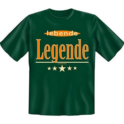 Lustiges Sprüche Fun T-Shirt mit MiniShirt - lebende Legende - für Damen Herren Farbe dunkelgrün Dunkelgrün