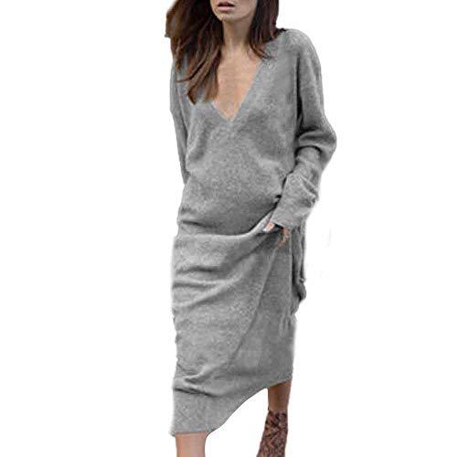 Damen Lang Pullover Kleid,Sunday Frauen V-Ausschnitt Pullover Herbstkleid Lang Sweatkleid Pullikleid Slim Fit Maxikleid Langarm Strickkleid Freizeit Bodycon Kleid (XL, Grau) (De V-pullover)