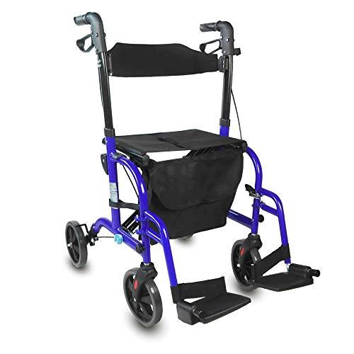 Andador y silla de ruedas | Aluminio | Plegable | Freno en manetas | Asiento y respaldo | 4 ruedas | Azul | Picasso | Mobiclinic