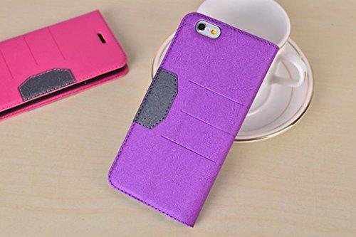 Gemischte Farben Glänzende Sparkles Pattern Magnetische Verschluss PU Ledertasche Cover mit Kickstand & Card Slot für iPhone 6 Plus & 6s Plus ( Color : Black ) Purple