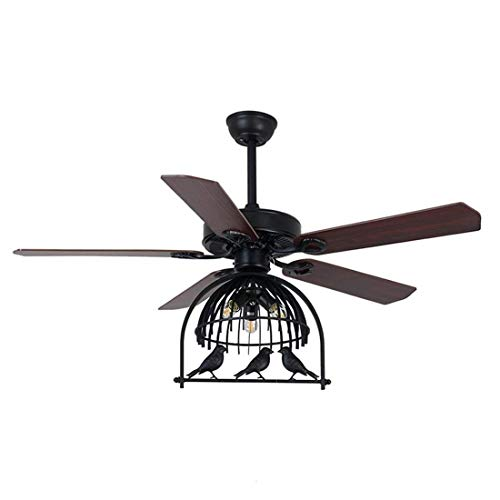 Ventilador industrial Luz de techo colgante de luz con sombra de jaula...